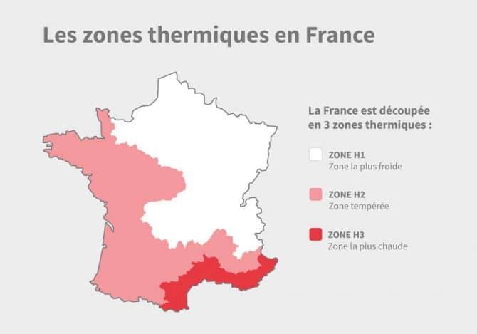 Carte de France découpée par zones thermiques